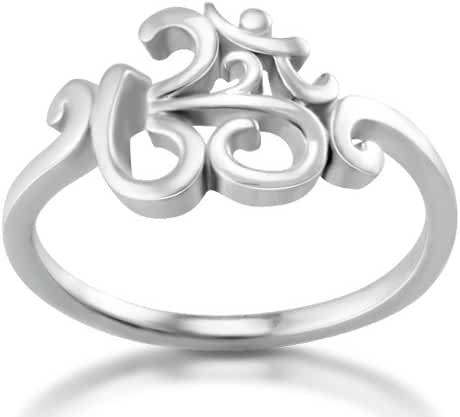 925 Sterling Silver Calligraphy Style Yoga, Aum, Om, Ohm, Sanskrit Ring