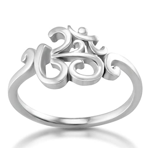 925 Sterling Silver Calligraphy Style Yoga, Aum, Om, Ohm, Sanskrit Ring, Size 6