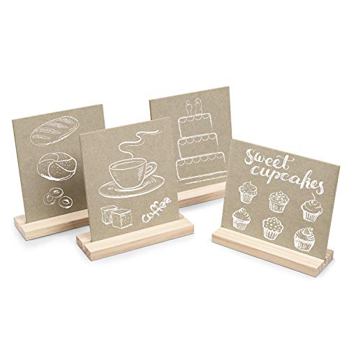 Flexzion Wood Mini Chalkboards Tabletop Signs - 4 Pack with Easel Base Stand 5 X 6 Inch Small Size Rectangle Blackboards, Place Cards for Weddings, Birthday Parties, Message Board, Cafe (Wood Color)