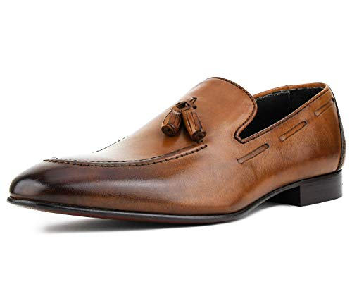 Asher Green AG4743 - Men's Leather Loafers - Men's Dress Shoes, Casual Slip-On Shoes for Men - Designer Shoes with Tassels - Handcrafted in Italy, Tan, Size 11