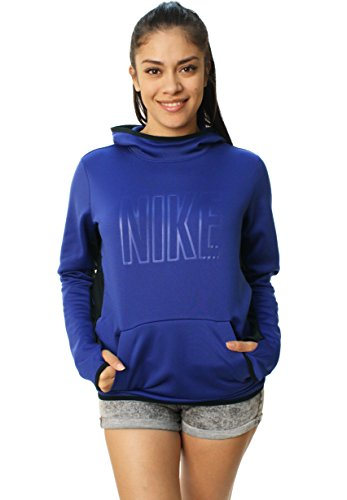Nike Women's All Time Tech Graphic Pullover Hoodie-Large blue