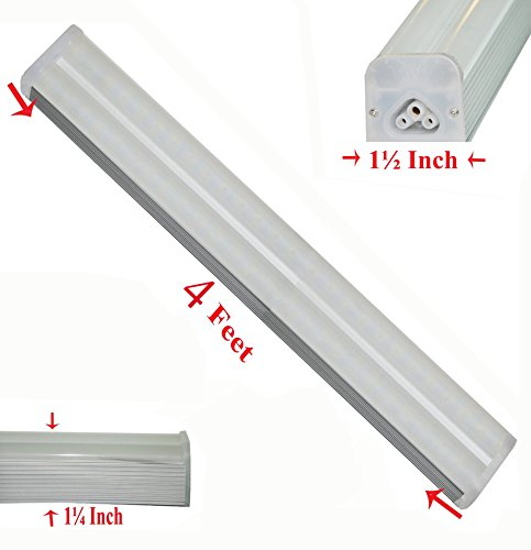 SleekLighting T5 LED Double Bar Tube Lighting 4 Ft Frosted Cover 30 Watt  5500K No Ballast Fixture Link Up To 6 Together Interior Lights Garage  Closet ...