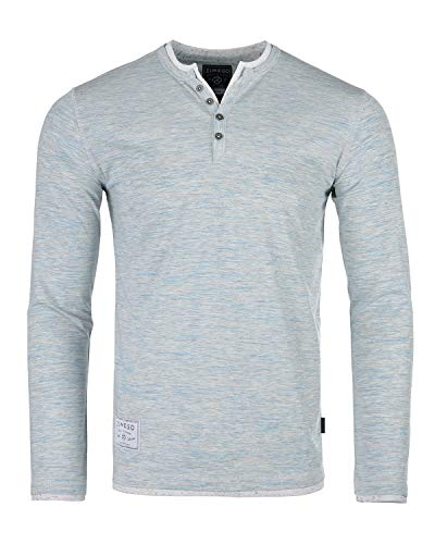 ZIMEGO Mens Long Sleeve Double Layered V-Neck Fashion Henley with Button Placket Heather Blue