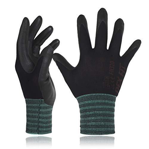 DEX FIT Black Nylon Work Gloves FN320, 3D Comfort Stretch Fit, Power Grip, Thin Lightweight, Durable Foam Nitrile Coating, Machine Washable, Large 12 Pairs Pack