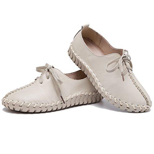 Shenn Mujer Slip Stitch Cordones Linda Cuero Zapatillas Moda Zapatos Blanco