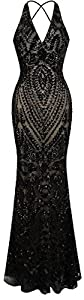 Angel-fashions Women's Halter Pattern Sequin V Neck Sheath Long Evening Dress