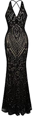 Angel-fashions Women's Halter Pattern Sequin V Neck Sheath Long Evening Dress