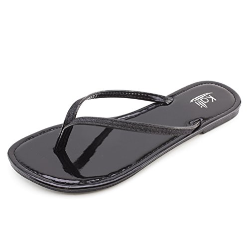 Kali Womens Basic Flip Flop Flat Sandals (Black, 6)