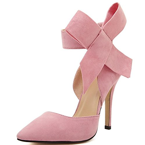 RENXINGLI Women Big Bow Tie Pumps Butterfly Pointed Stiletto Shoes Bowknot advisable High Heels Wedding Shoes Pink 5