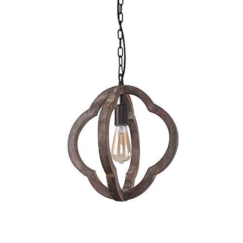 NOVO Light 1-Light Pendant Light Vintage Wooden Iron Chandelier Pendant Lamp lampshade ()