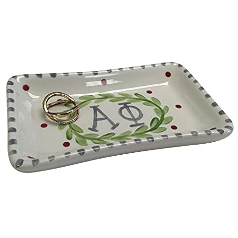 Alpha Phi Sorority Trinket Tray Ring Dish Made of Ceramic Material Letters A Phi