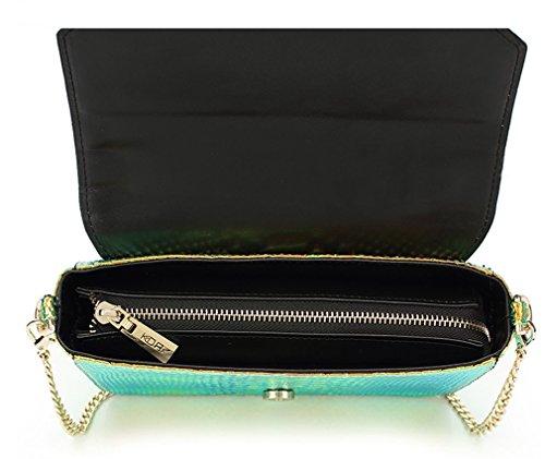 Marchome Crossbody Skin Hologram Bag Girls Shoulder Snake Women Pu Green Leather rw6rFCq