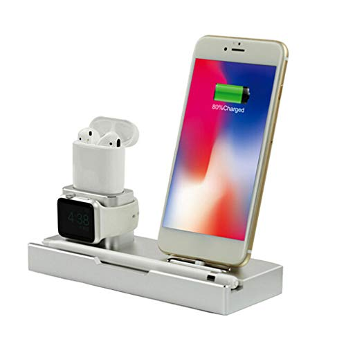 (Jonerytime 6In 1 Premium Aluminum Alloy Charger Dock Station Holder ForiPhone/AirPods/FORAppleWatch/FORApple Pen/Ipad/Wireless Charging)