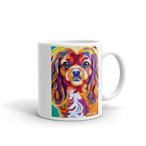 DawgArt Official Dog Art White 11oz Coffee Mug, Cavalier King Charles Spaniel Breed Boonda, Rescue Dog, Dog Mother or Dog Father by DawgArt