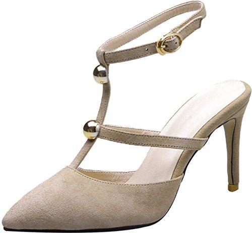 Calaier Women Salbv Pointed-Toe 9CM Stiletto Buckle Sandals Shoes Beige FZfY5Twbi