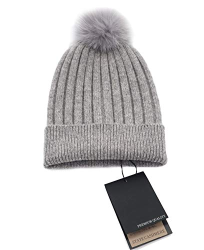State Cashmere Real Fur Pom-Pom Hat 100% Pure Cashmere Cuffed Beanie•Ultimately Soft and Warm (Grey) (Mongolian Fur Hat)