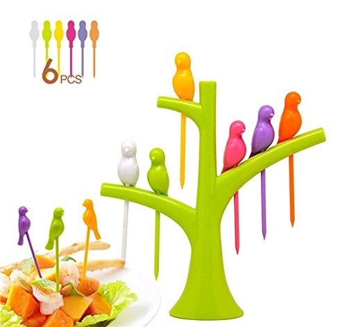 higadget™ Branded Bird Fruit Fork set, 6 pieces, Food grade plastic - Random color