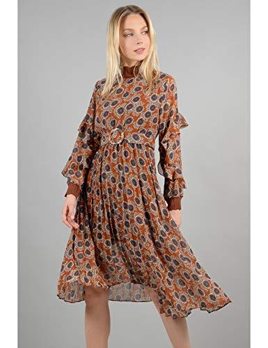 Molly vita manica plisse midi cointura gonna in Bracken e elaborata abito con elastico 646xUCwn