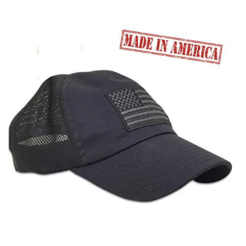 - American Flag Unstructured Range Day Hat with Mesh Back by Red White Blue Apparel (Midnight Navy)
