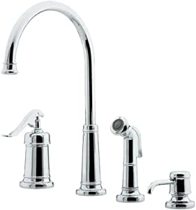 4 hole kitchen faucet ashfield four kitchen faucet with side spray and soap 15579