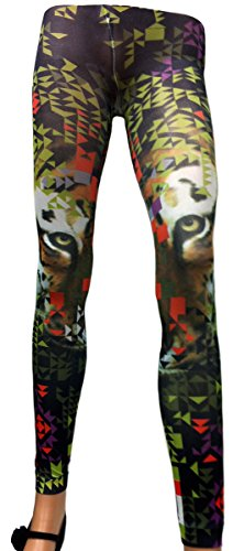 Schonfeld Women's Scenic Print Pantyhose Stretch Footless Tights (Queen, City Tiger) (Tiger Print Pantyhose)