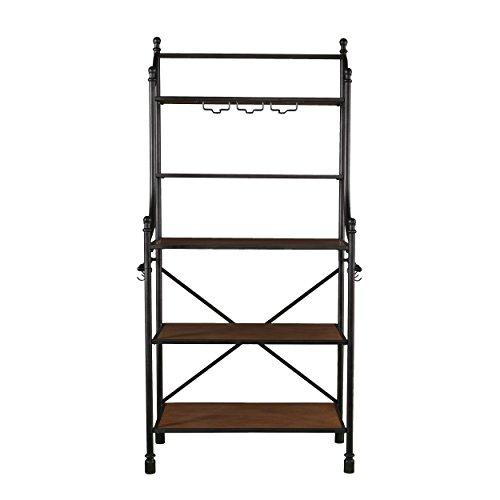 Furniture HotSpot - Bakers Rack/Microwave Stand - Black w/ Honey Pine - 33