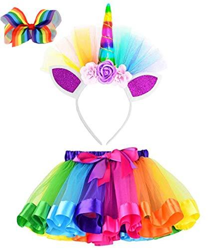 JXUFUFOO Little Girls Rainbow Tutu Skirt Dress up Outfits Birthday Party Costume with Unicorn Horn Headband & Hair Bow,Rainbow,4-8 Years Old -