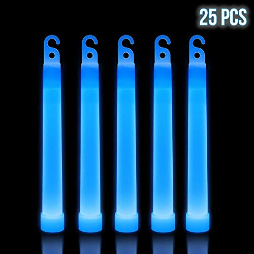 Lumistick 6 Inch Premium Glow Sticks | 15mm Thick Flat Bottom Illuminating Glowing Sticks | Waterproof & Non-Toxic Light Up Neon Sticks with Hook for Camping & Hiking (Blue, 25 Glow Sticks)
