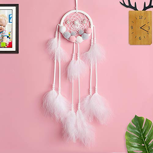 Dream Catcher for Kids Bedroom Small White Feather Dream Catchers Boho Chic Decor Boys Girls Room Dreamcatcher Decorations Car Mirror Hanging Accessories Nursery Ornament - Girl Hanging