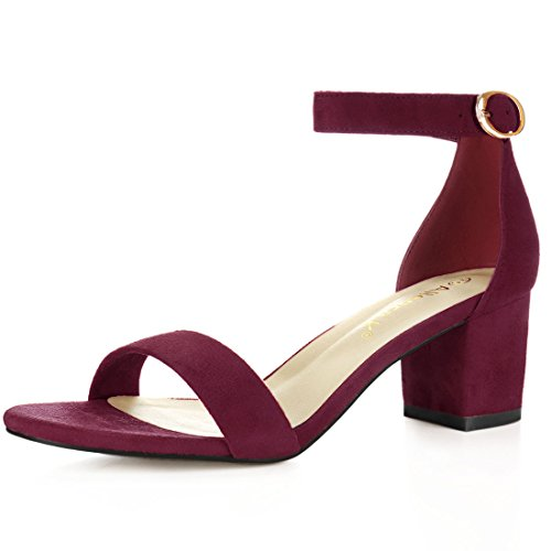 Womens Shoes Burgundy (Allegra K Women's Open Toe Block Heel Ankle Strap Sandals (Size US 8.5) Burgundy)