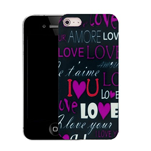 Mobile Case Mate IPhone 4 clip on Silicone Coque couverture case cover Pare-chocs + STYLET - purple love message pattern (SILICON)