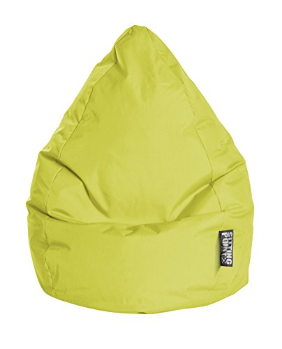 Gouchee Home Brava Collection Contemporary Polyester Upholstered Plush Bean Bag Chair, Lime Green