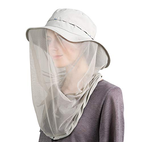 (Flammi Mosquito Head Net Hat Outdoor UPF 50+ Sun Hat with Mesh Face Neck Mask Protection from Insect Bug Bee Gnats Bucket Boonie Hat Cap for Fishing Hiking Gardening (Light Grey))