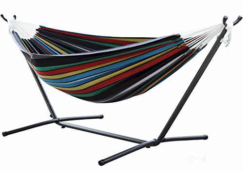 Vivere Double Hammock with Space-Saving Steel Stand Rio Night (Large Image)