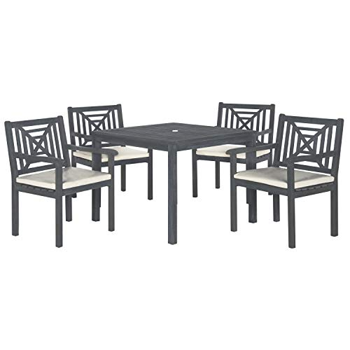 Safavieh Outdoor Living Collection Del Mar 5-Piece Dining Set, Ash Grey (5 Piece Dining Collection)
