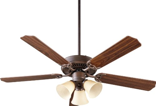 (Quorum International 77525-1786 Capri VI 52-Inch 3 Light Ceiling Fan, Oiled Bronze Finish with Amber Scavo Glass Light Kit and Reversible Blades)