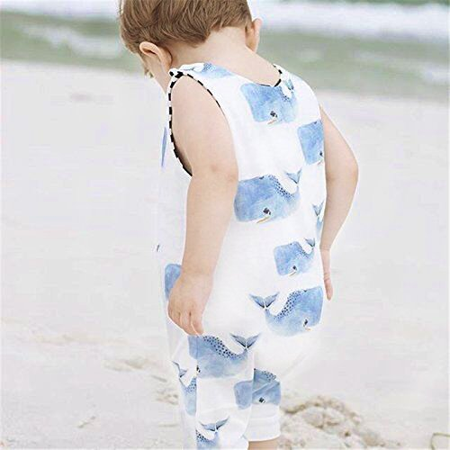 Toddlers Infant Baby Boys Romper Sleeveless Blue Whales Print Jumpsuit Animal Outfit Clothes