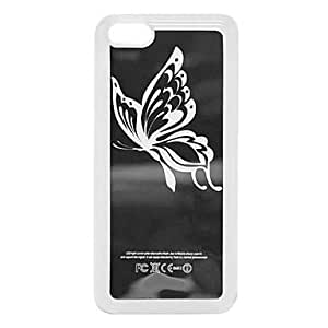 QJM New Sense Flash Light LED Butterfly Color Changing Case Cover Skin for iPhone 5C , Black