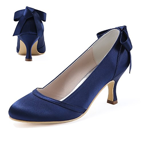 ElegantPark HC1804 Women Pumps Mid Heel Closed Toe Bows Satin Wedding Bridal Shoes Navy Blue US 8