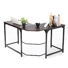 L Shaped Corner Desk, GreenForest Computer Home Office Desk PC Workstation Study Table, Espresso