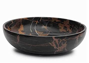 Large Black And Brown Marble Fruit Bowl, Decorative Stone Bowl Centerpiece    12 Inch