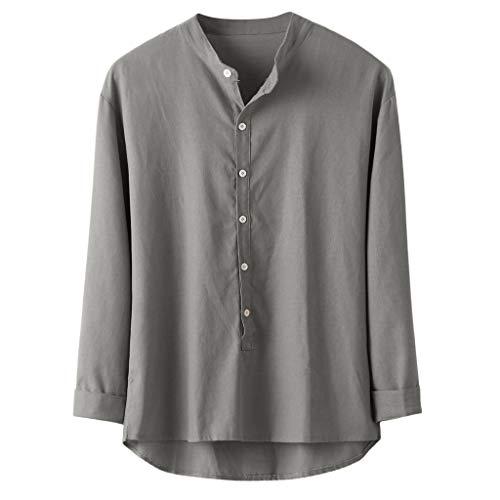 Shirt Long Sleeve Classic Fashion Autumn Winter Button Casual Long Sleeve Top Blouse Men -