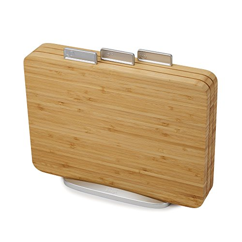Index Chopping Boards - Joseph Joseph 60141 Index Bamboo Cutting Board Set of 3 Boards with Storage Stand Non-Slip