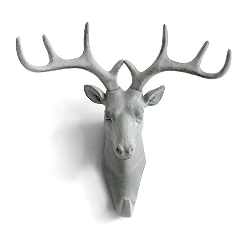 HERNGEE Deer Head Single Wall Hook / Hanger Animal shaped Coat Hat Hook Heavy Duty, Rustic, Decorative Gift , Grey