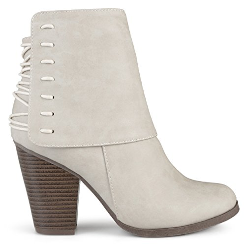 Brinley Co. Womens High Heel Corset Lace Chunky Heel Ankle Boots Stone, 6 Regular US