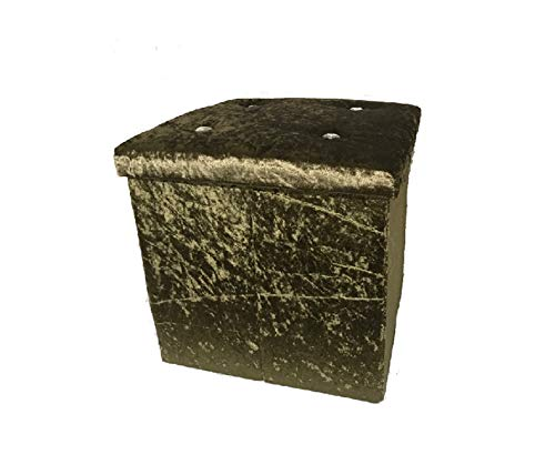 Crushed Velvet Diamante Storage Ottoman Seat Box Pouffe Foot Stool Cube (Black) H&S