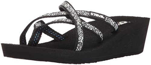 Teva Women's W Mush Mandalyn Wedge Ola 2 Flip-Flop, Black/Fleur Black, 8 M US (Best Teva Sandals For Walking)