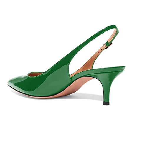 Toe Pumps 5cm Womens Heel Shoes Slingback EDEFS Court Pointed 6 Kitten Patent Green Ea0qPOqx