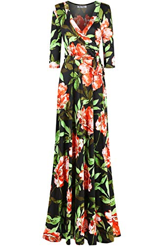 Party Maternity Bridal Dresses - Bon Rosy Women's MadeInUSA 3/4 Sleeve V-Neck Printed Maxi Faux Wrap Floral Dress Summer Wedding Guest Party Bridal Baby Shower Maternity Nursing Black Green S