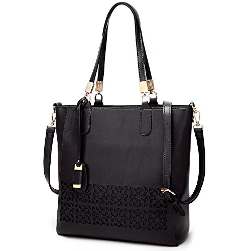 Women Fashion Color Large Capacity Bag Shoulder Tote Bag (Black) - 2